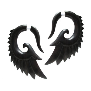 Wooden 'Seraphim Wing' Tribal Earrings