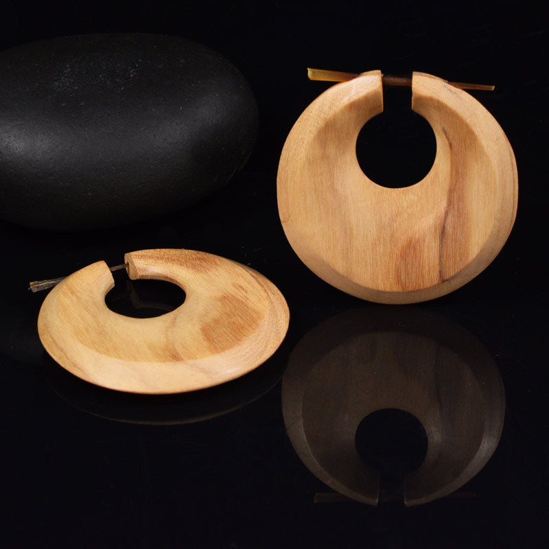 Large Olive Wood Tribal Discus Earrings