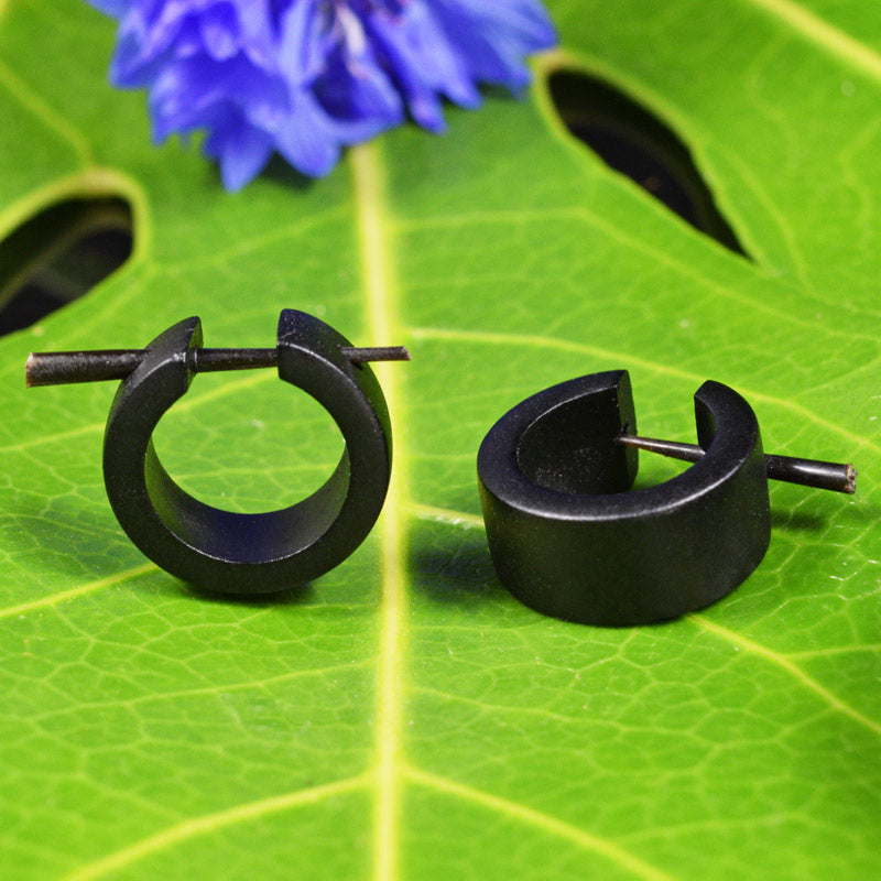 Huggies Style Tribal Earrings in Black Wood