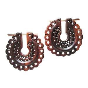 Mayan Design Wooden Earrings