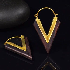Wood and Brass Chevron Earrings