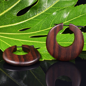 Wooden Tribal Disc Earrings