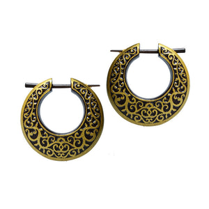 Wooden Earrings with Gold Filigree Design