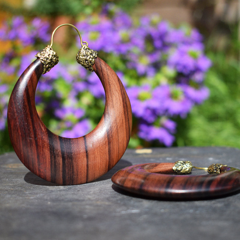 Large Wooden Tribal Earrings