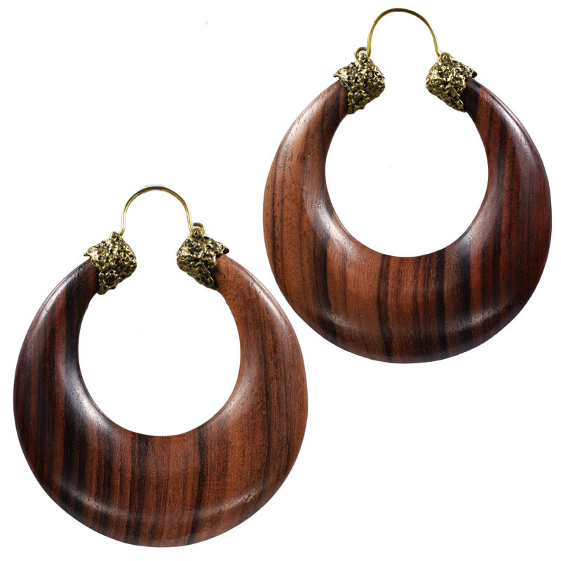 Large Wooden Crescent Earrings