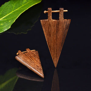 Wooden Triangle Stick Earrings