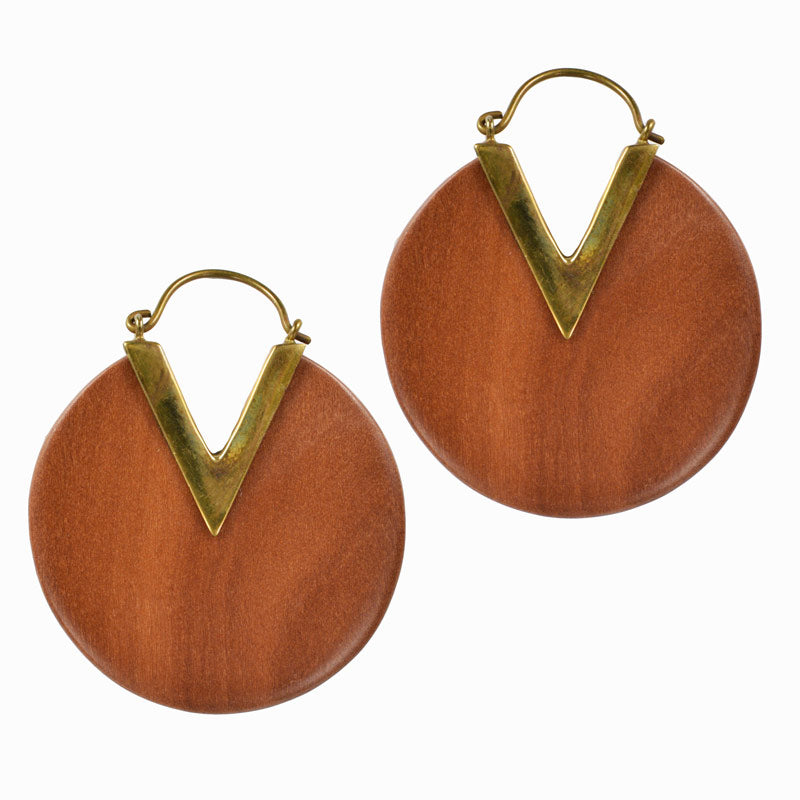 Wooden Disc Earrings
