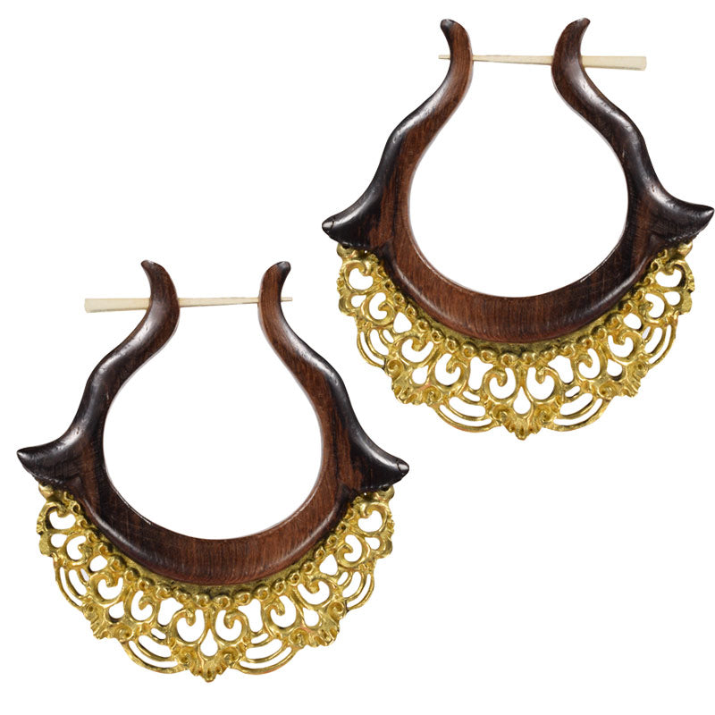 Wooden Earrings with Balinese Brass Filligree