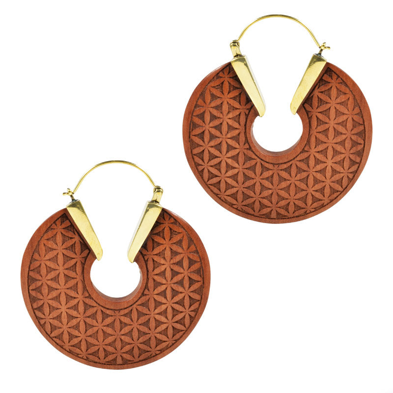 Flower of Life Wooden Earrings