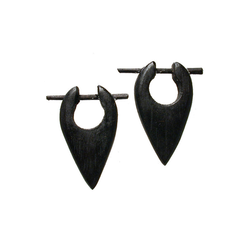 Tribal Wooden Arrow Head Earrings