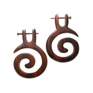 Wooden Spiral Tribal Earrings