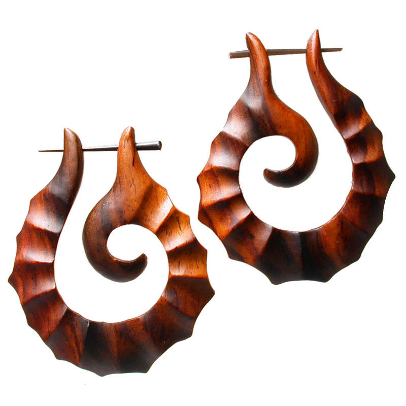 Tribal Shell Spiral Wooden Earrings