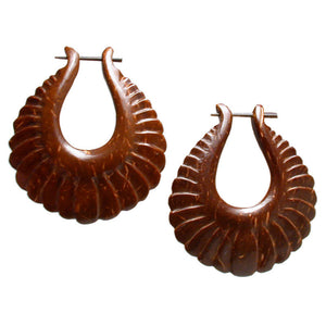 Balinese Tribal Wooden Earrings