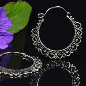Tribal Mandala Hoop Earrings in Silver (White) Brass