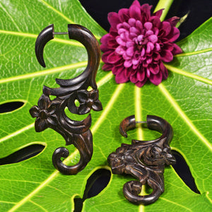 Flower Vine Tribal Earrings in Wood