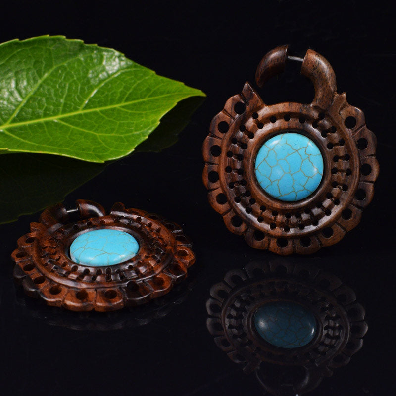 Wood and Turquoise Tribal Earrings Aztec Design