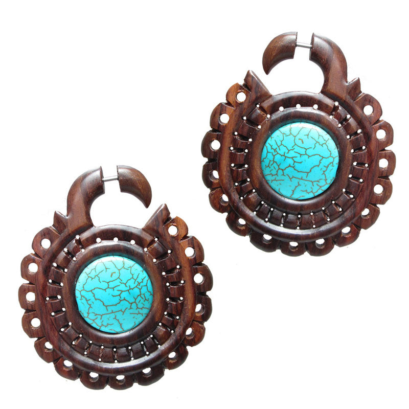 Wood and Turquoise Aztec Design Earrings