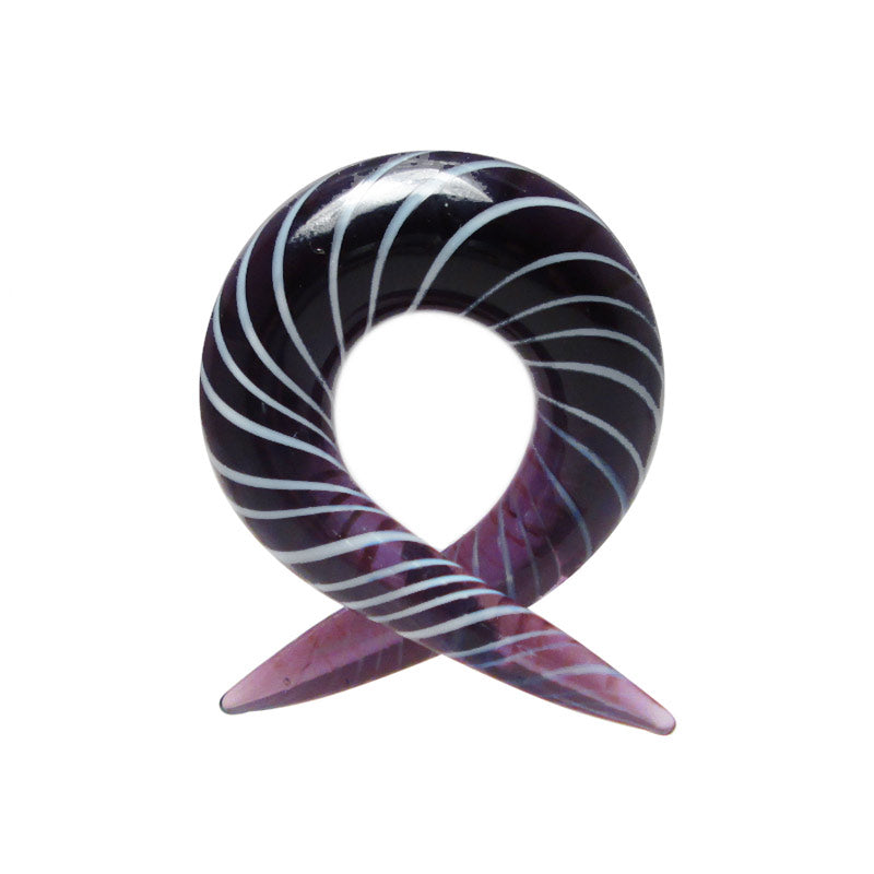 Purple Glass Candy Twist Ear Hanger