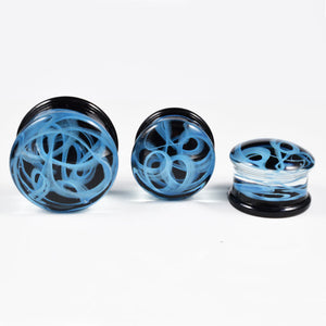 Blue Swirl Glass Flesh Plugs