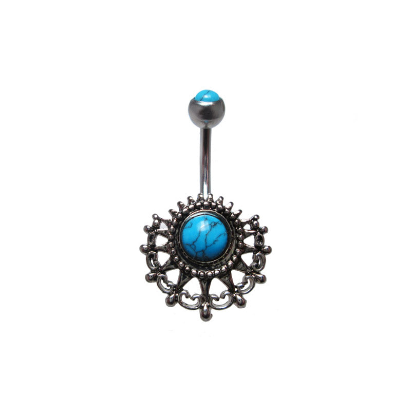 Vintage Navel Bar with Turquoise Stone
