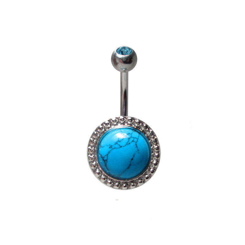 Vintage Style Navel Bar with Turquoise Cabochon