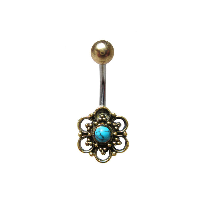 Tribal Navel Bar with Turquoise Stone