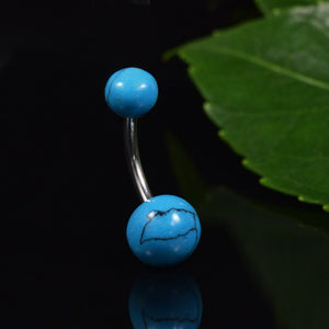 Natural Stone Turquoise Navel Bar