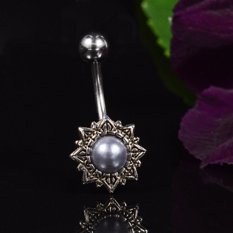 Antique Style Belly Bar with Blue-Grey Pearl