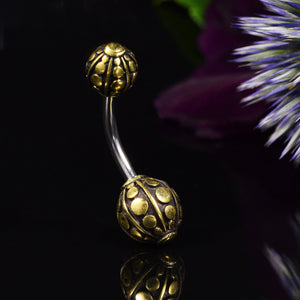 Tribal Navel Bar with Brass Ends Terima
