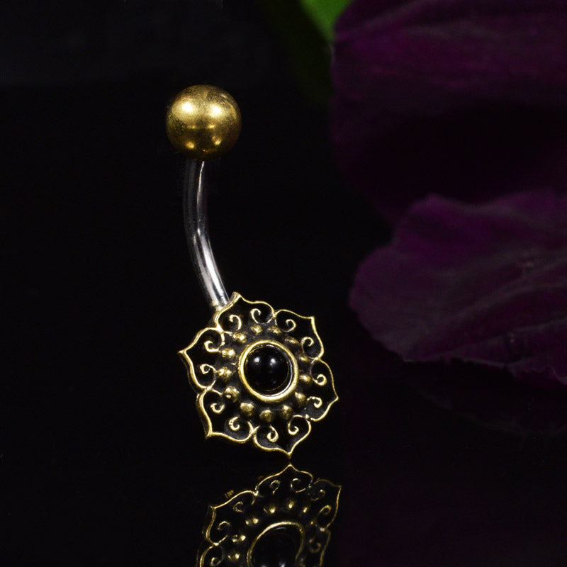 Navel Bar with Onyx Centred Mandala