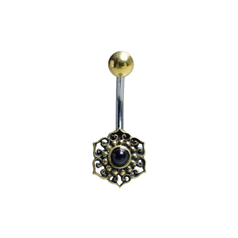 Navel Bar with Onyx Mandala