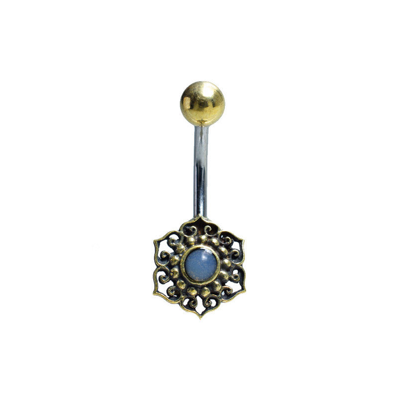 Navel Bar with Moonstone Centred Mandala
