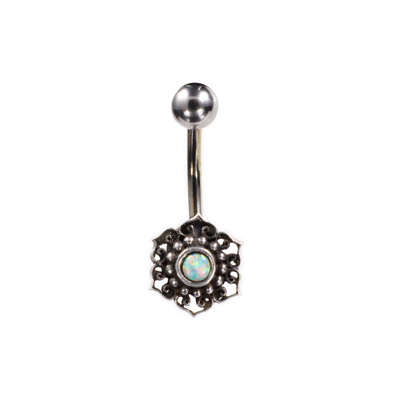 Silver Ended Navel Bar with Opal Stone