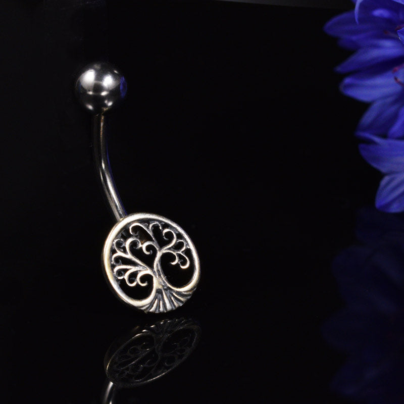 Silver Ended Navel Bar with Tree of Life Design
