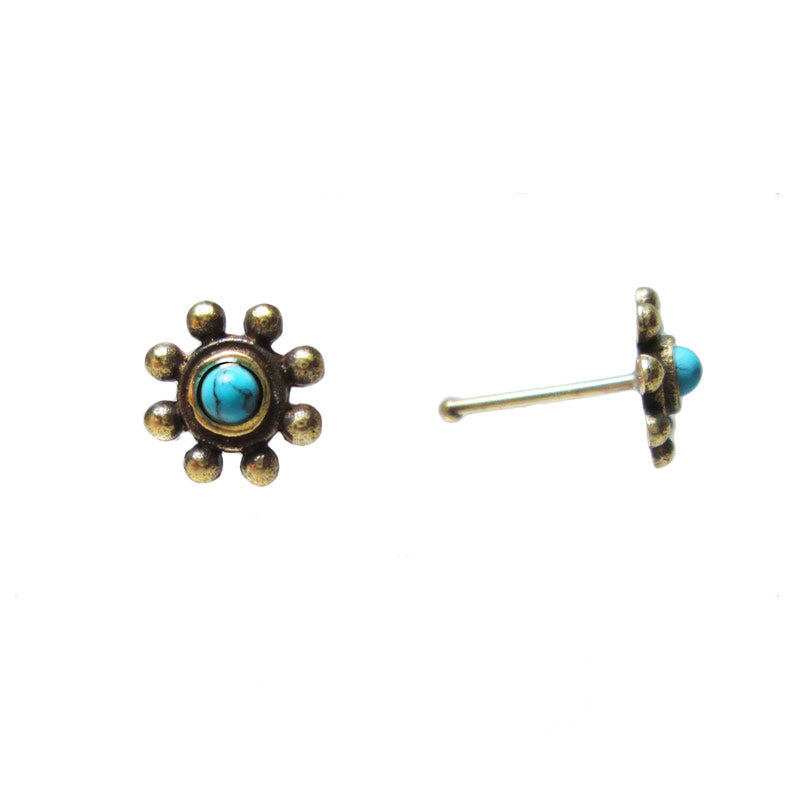 Indian Nose Stud with Turquoise Stone