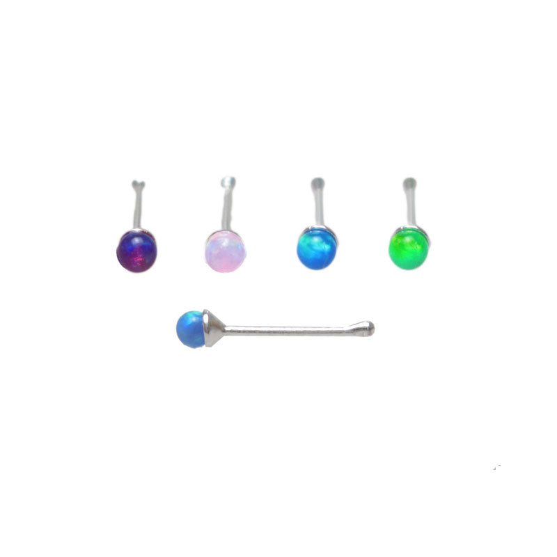 Sterling Silver Nose Pin with Opalite Stone