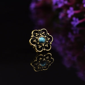Tribal Indian Nose Stud, Brass with Turquoise Stone