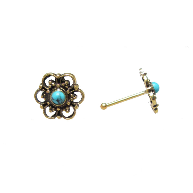 Tribal Indian Nose Stud, Brass with Turquoise Stone 'Bejir'
