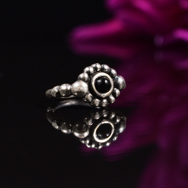Silver Nose Ring with Onyx Stone