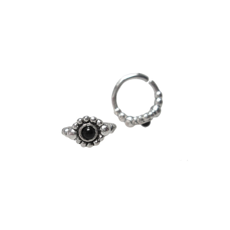 Indian Nose Ring, Silver with Onyx Stone