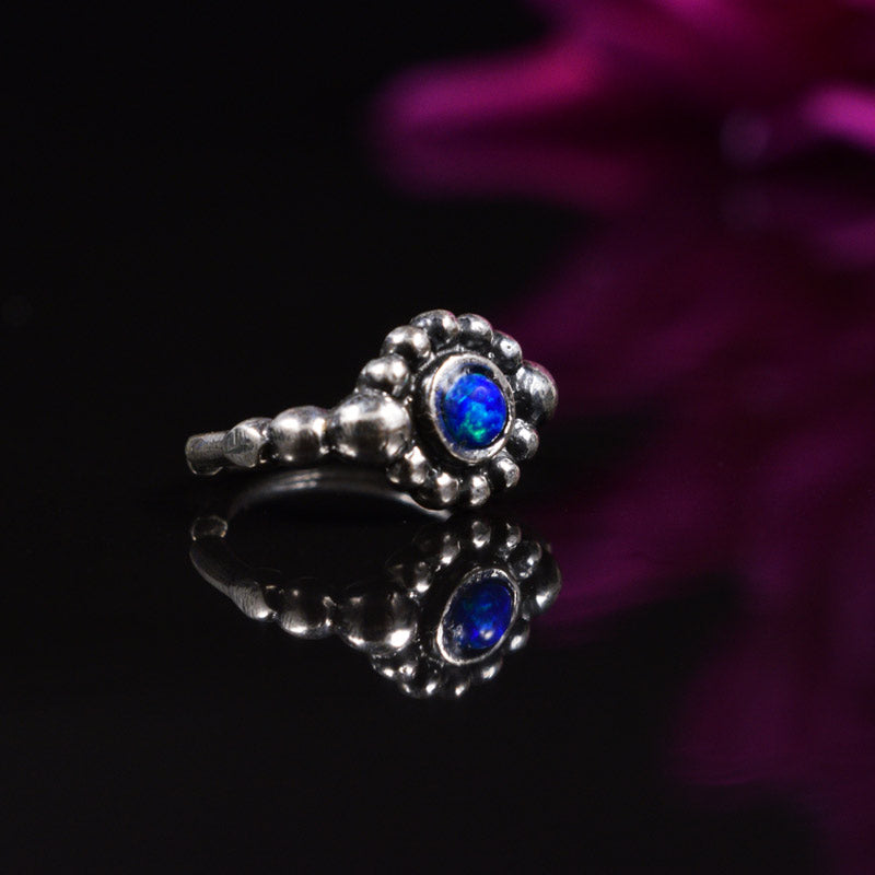 Silver Nose Ring with Blue Opal