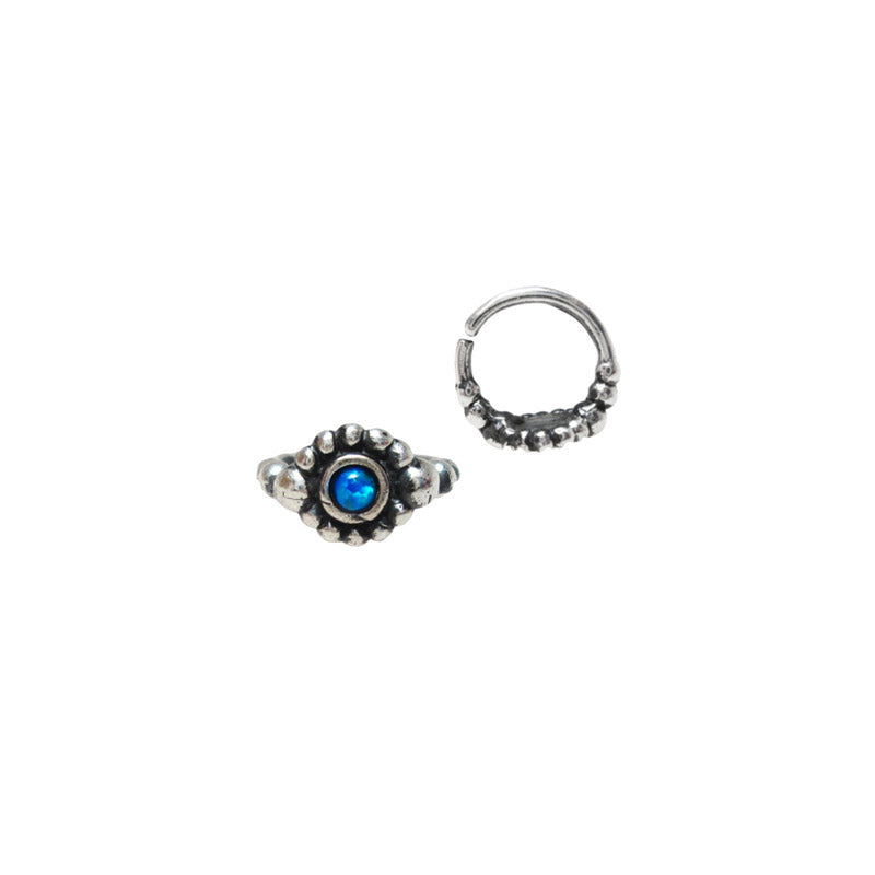 Indian Nose Ring, Silver with Blue Opal