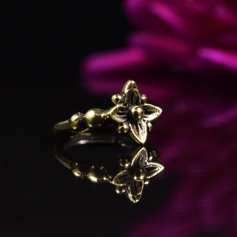 Brass Nose Ring with Flower Design