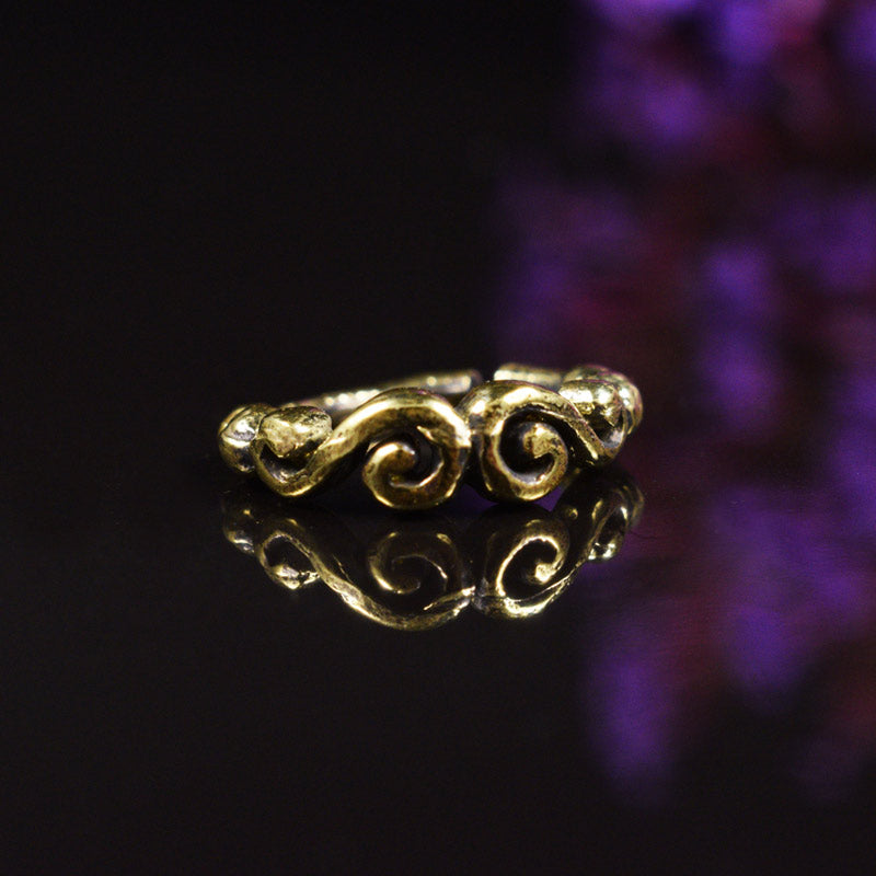 Brass Nose Ring with Double Spiral Design