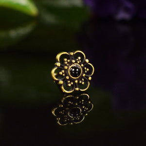 Indian Nose Stud with Onyx Stone 'Ajmer'