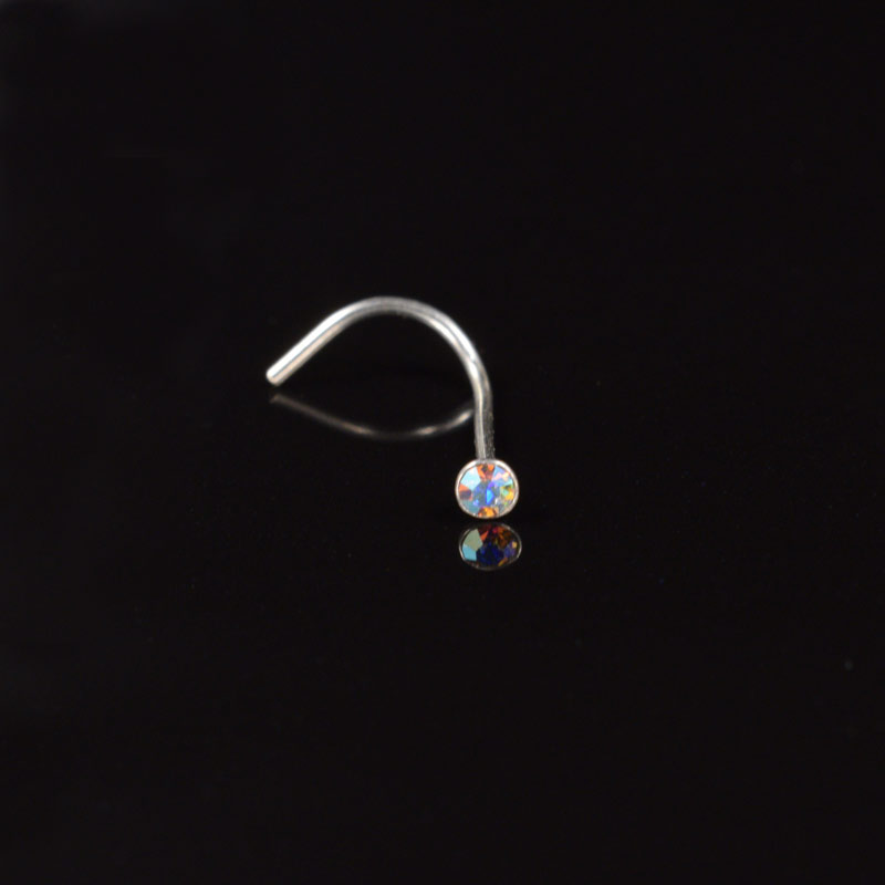 Silver Nose Stud with AB Crystal