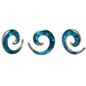 Bright Blue Abalone Steel Ear Spiral