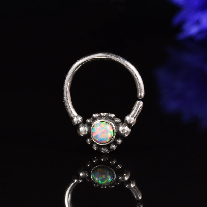 Silver Septum Ring with Opalite Stone 'Nokha'