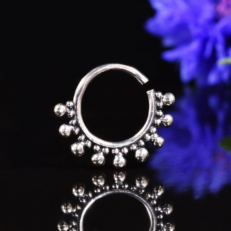 Tribal Style Silver Septum Ring