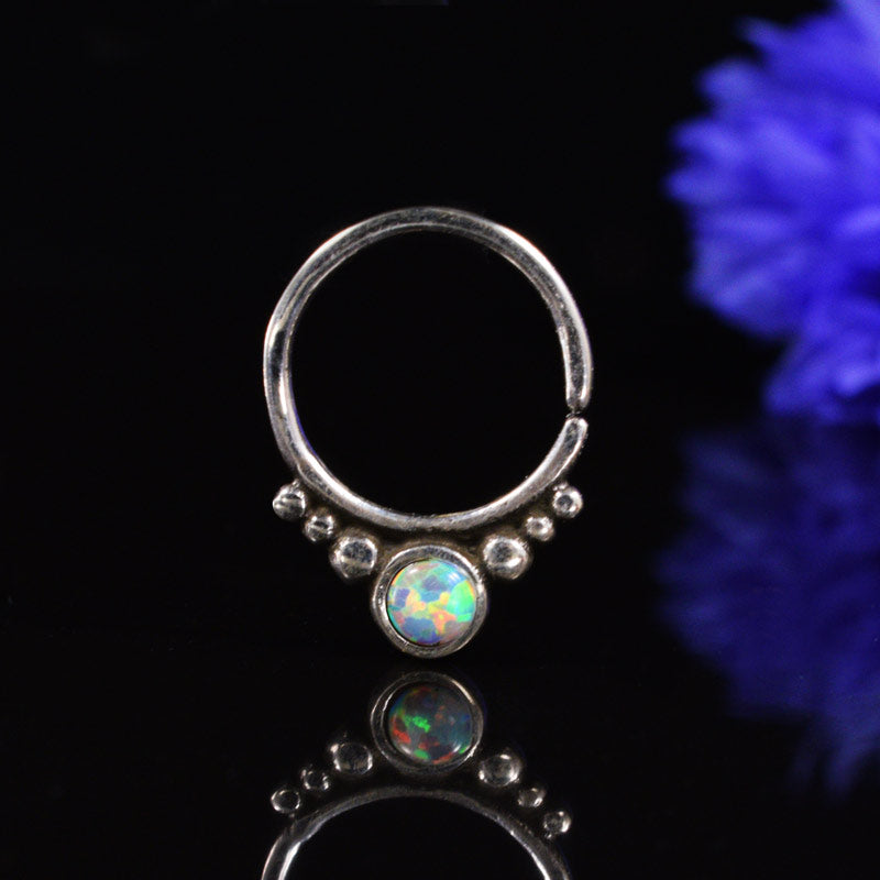 Silver Septum Ring with White Opalite Stone 'Kota'